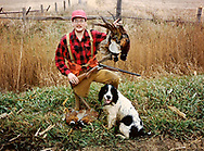 Keith Crowley and his Springer Spaniel, Buddy on an Iowa pheasant hunt, ca. 1991. Photo courtesy Keith Crowley