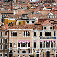 Charming traditional architecture and terracotta rooftops in the city of Venice, Italy