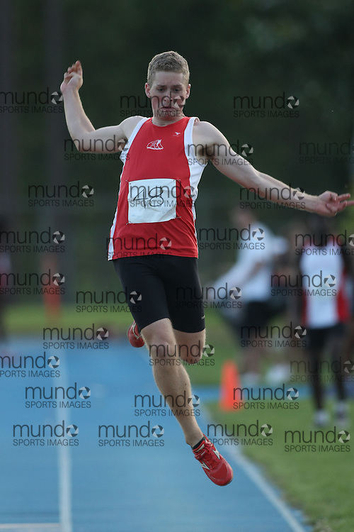 (Ottawa, Ontario---14 August 2008)  Philippe Leveque of Newfoundland & Labrador competing in the men's long jump at the 2008 Ontario Summer Games and Ontario v. Quebec v. Atlantic Canada Espoire Meet. Photo copyright Sean Burges/Mundo Sport Images. More details can be found at www.msievents.com.