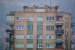 ZENICA, BOSNIA AND HERZEGOVINA - Sunday, November 26, 2017: A block of flats during a training session ahead of the FIFA Women's World Cup 2019 Qualifying Round Group 1 match against Bosnia and Herzegovina at the FF BH Football Training Centre. (Pic by David Rawcliffe/Propaganda)