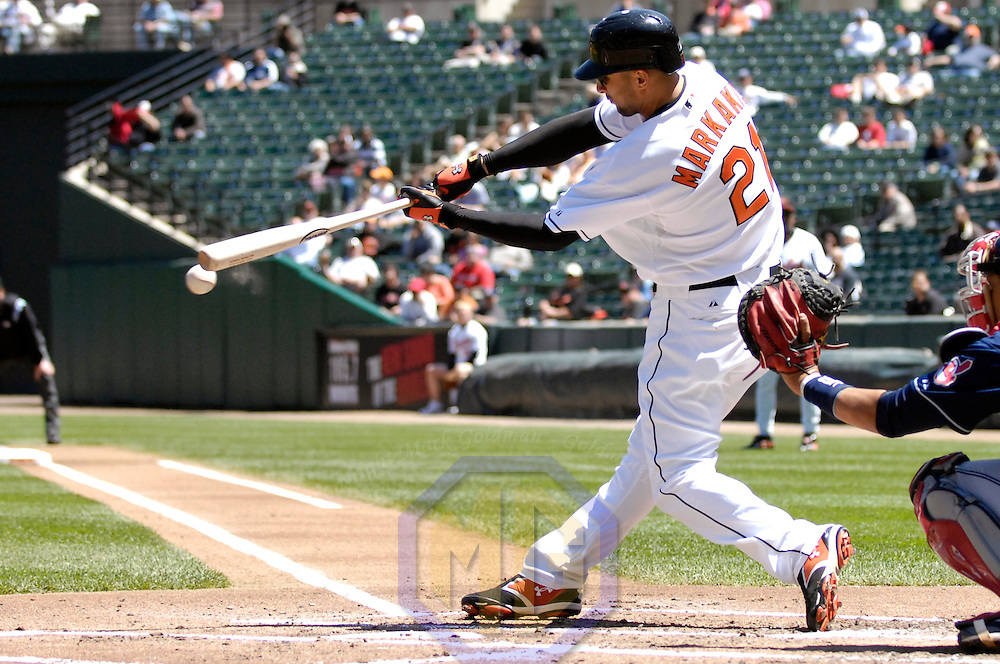07 May 2007:  Baltimore Orioles right fielder Nick Markakis (21) grounds out to second base in the 2nd inning against the Cleveland Indians.  The Indians defeated the Orioles 10-1 at Camden Yards in Baltimore, MD.   ****For Editorial Use Only****