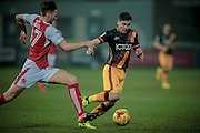 Josh Cullen (Bradford City) pulled back and fouled. Free kick to Bradford City during the EFL Sky Bet League 1 match between Fleetwood Town and Bradford City at the Highbury Stadium, Fleetwood, England on 14 February 2017. Photo by Mark P Doherty.