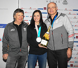 17.02.2018, Austria House, Pyeongchang, KOR, PyeongChang 2018, Medaillenfeier, im Bild v.l. Peter Schröcksnadel, Anna Veith, Karl Stoss // v.l. Peter Schröcksnadel, Anna Veith, Karl Stoss during a medal celebration of the Pyeongchang 2018 Winter Olympic Games at the Austria House in Pyeongchang, South Korea on 2018/02/17. EXPA Pictures © 2018, PhotoCredit: EXPA/ Erich Spiess