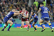 Dan Sarginson of Wigan Warriors attempts to break through the Warrington Wolves defence during the Betfred Super League Grand Final at Old Trafford, Manchester.<br /> Picture by Michael Sedgwick/Focus Images Ltd +44 7900 363072<br /> 13/10/2018