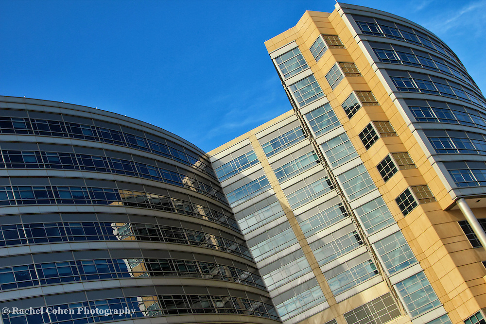 &quot;Reflections on a Curve&quot;<br /> <br /> Lovely colors and reflections set at an angle, and curve on The C.S. Mott Children's Hospital in Ann Arbor Michigan!!<br /> <br /> Architecture: Structures, buildings and their details by Rachel Cohen