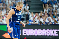 Sasu Salin of Finland reacts during basketball match between National Teams of France and Finland at Day 1 of the FIBA EuroBasket 2017 at Hartwall Arena in Helsinki, Finland on August 31, 2017. Photo by Vid Ponikvar / Sportida