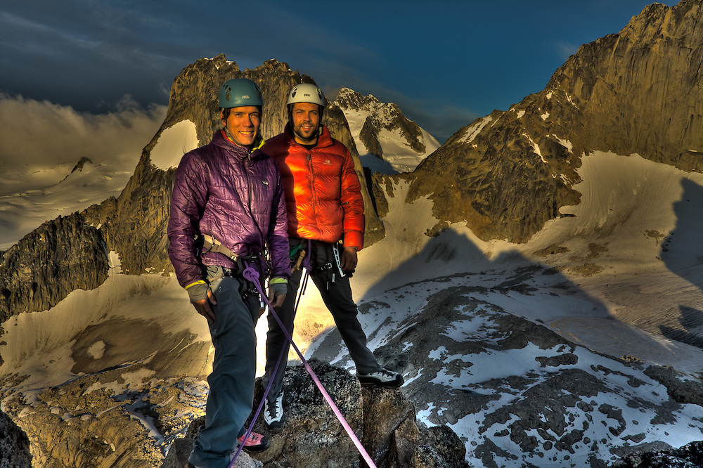 Alex and I on the summit of East Post Spire, Bugaboo Provincial Park after waking up at 430am to scramble to the top to get sunrise shots.