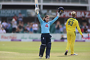 Tammy Beaumont of England (12) celebrates getting one hundred runs during the Royal London Women's One Day International match between England Women Cricket and Australia at the Fischer County Ground, Grace Road, Leicester, United Kingdom on 4 July 2019.