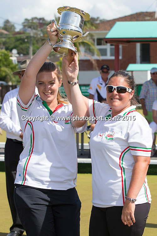 Burnside`s Mandy, left,  and Angela Boyd, winners of the women` pairs final at the National Open Bowls Championship 2014, Browns Bay Auckland, New Zealand, Sunday, January 04, 2015. Photo: David Rowland/www.photosport.co.nz