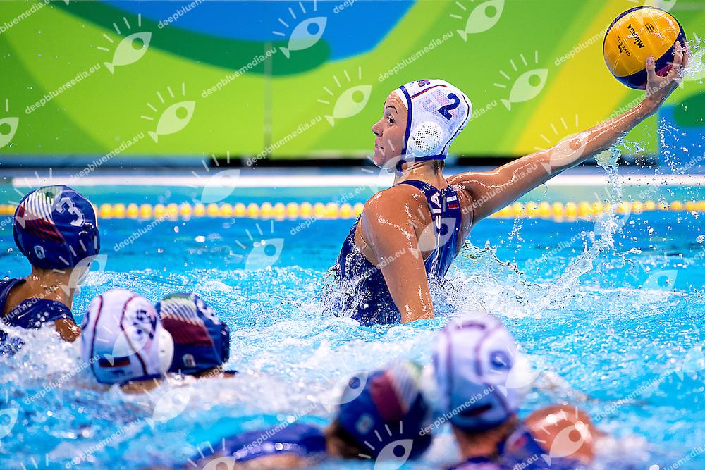 RUS Russia (white cap) - ITA Italy (blue cap)<br /> Rio de Janeiro  XXXI Olympic Games <br /> Olympic Aquatics Stadium<br /> Waterpolo women semifinal 17/08/2016<br /> Photo Giorgio Scala/Deepbluemedia/Insidefoto