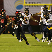 10 September 2016: The San Diego State Aztecs football team hosts Cal in their second game of the season.  San Diego State running back Donnel Pumphrey  (19) breaks free for a rushing play in the first quarter. The Aztecs lead 31-21 at halftime.