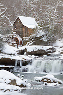 67395-04317 Glade Creek Grist Mill in winter, Babcock State Park, WV