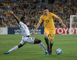 SYDNEY, Nov. 15, 2017  Tom Rogic (R) of Australia competes during the FIFA world cup 2018 Qualifiers intercontinental Playoff match between Australia and Honduras at Stadium Australia in Sydney, Australia, Nov. 15, 2017. Australia won 3-1. (Credit Image: © Zhu Hongye/Xinhua via ZUMA Wire)