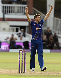 Gloucestershire's David Payne celebrates the wicket of Sam Curran of Surrey CCC - Mandatory byline: Robbie Stephenson/JMP - 07966 386802 - 19/09/2015 - Cricket - Lord's Cricket Ground - London, England - Gloucestershire CCC v Surrey CCC - Royal London One-Day Cup Final