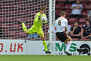 Luke Daniels  saves attempt from Ben Nugent  during the Sky Bet League 1 match between Scunthorpe United and Crewe Alexandra at Glanford Park, Scunthorpe, England on 15 August 2015. Photo by Ian Lyall.