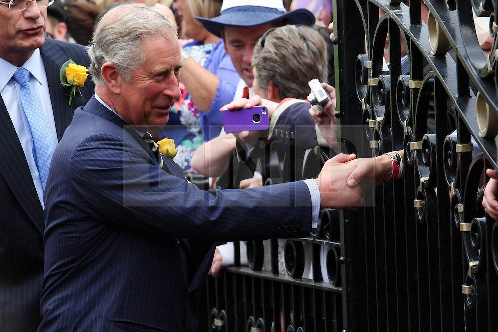 © Licensed to London News Pictures. 06/11/2012. The Prince of Wales, Prince Charles shakes hands with spectators through a gate during the Emirates Melbourne Cup at the Flemington Racecourse, Melbourne. Photo credit : Asanka Brendon Ratnayake/LNP