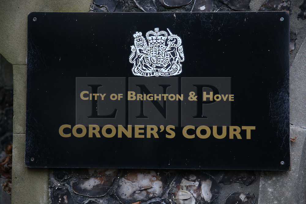 © Licensed to London News Pictures. 10/11/2015. Brighton, UK. Brighton and Hove Coroner's Court where earlier Nick Cave attending an inquest into the death of his son. 15 year old Arthur Cave, the son of the musician, died as the result of a fall from cliffs in Brighton in July 2015. Photo credit: Peter Macdiarmid/LNP