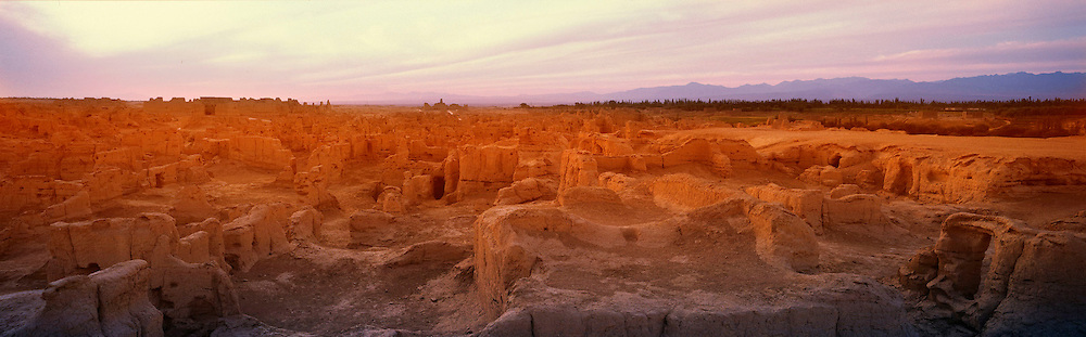 Ruins of ancient city, Jiaohe, at sunset, Turpan, Xinjiang Province, Silk Road, China