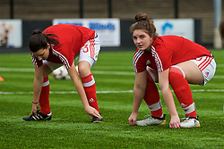 MERTHYR, WALES - Thursday, February 16, 2017: Wales' Erin Riden warms-up ahead of the Women's Under-17's International Friendly match against Hungary at Penydarren Park. (Pic by Laura Malkin/Propaganda)