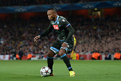 LONDON, ENGLAND - Oct 01: Napoli's defender Camilo Zuniga from Columbia during the UEFA Champions League match between Arsenal from England and Napoli from Italy played at The Emirates Stadium, on October 01, 2013 in London, England. (Photo by Mitchell Gunn/ESPA)