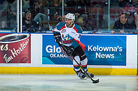 KELOWNA, CANADA - APRIL 25: Devante Stephens #21 of the Kelowna Rockets skates with the puck against the Seattle Thunderbirds on April 25, 2017 at Prospera Place in Kelowna, British Columbia, Canada.  (Photo by Marissa Baecker/Shoot the Breeze)  *** Local Caption ***