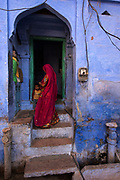 "The ""Blue City"" of Jodhpur, Rajasthan. The narrow streets are painted blue, some say to ward off mosquitos and keep the air cool."