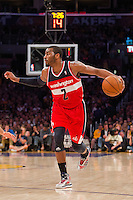 22 March 2013: Guard (2) John Wall of the Washington Wizards drives to the basket against the Los Angeles Lakers during the second half of the Wizards 103-100 victory over the Lakers at the STAPLES Center in Los Angeles, CA.