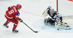 Artemi Panarin of Russia vs Pekka Rinne of Finland during penalty shots at Ice Hockey match between Finland and Russia at Day 12 in Group B of 2015 IIHF World Championship, on May 12, 2015 in CEZ Arena, Ostrava, Czech Republic. Photo by Vid Ponikvar / Sportida