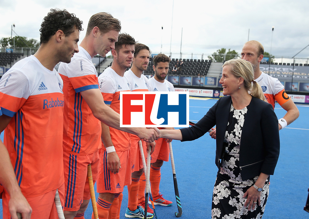 LONDON, ENGLAND - JUNE 25:  Sophie, Countess of Wessex meets the Netherlands players during the final match between Argentina and the Netherlands on day nine of the Hero Hockey World League Semi-Final at Lee Valley Hockey and Tennis Centre on June 25, 2017 in London, England.  (Photo by Alex Morton/Getty Images)