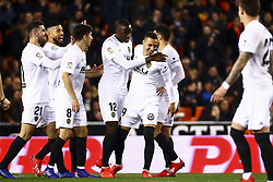 January 26, 2019 - Valencia, Spain - Mouctar Diakhaby of Valencia CF (C) celebrate after scoring the 1-0 goal with his teammate  during  spanish La Liga match between Valencia CF vs Villarreal CF at Mestalla Stadium on Jaunary  26, 2019. (Credit Image: © Jose Miguel Fernandez/NurPhoto via ZUMA Press)