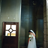 A portrait of the bride on her wedding day at the Iglesia Conventual de Nuestra Señora del Rosario, Barcelona.