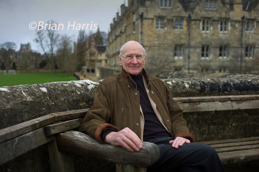 John Carey, literary critic, and emeritus Merton Professor of English Literature at the University of Oxford. February 2014<br /> Photographed for the Times Higher Education Supplement - THES - at Merton College.<br /> John Carey (born 5 April 1934) is a British literary critic, and emeritus Merton Professor of English Literature at the University of Oxford. He was born in Barnes, London, and educated at Richmond and East Sheen Boys&rsquo; Grammar School, winning an Open Scholarship to St John's College, Oxford. He served in the East Surrey Regiment, 1952-4, and was commissioned. After posts in a number of Oxford colleges, he became Merton Professor in 1975, retiring in 2001.<br /> <br /> He is known, amongst other things, for his anti-elitist tone and iconoclastic views on high culture, as expressed for example in his book What Good Are the Arts? (2005).<br /> <br /> He has twice chaired the Booker Prize committee, in 1982 and 2004, and chaired the judging panel for the first Man Booker International Prize in 2005. He is chief book reviewer for the London Sunday Times and appears in radio and TV programmes such as Saturday Review and Newsnight Review.
