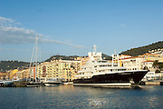 The 82 Metre Motor Yacht Sarafsa owned by Prince Fahad al Saud alongside in the Port of Nice, South of France.