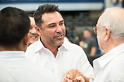Oscar De La Hoya visits with fans at AT&T Stadium in Arlington, Texas before the weigh-ins on September 16, 2016.  (Cooper Neill for ESPN)