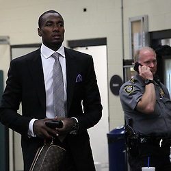 Jun 14, 2012; Oklahoma City, OK, USA; Oklahoma City Thunder power forward Serge Ibaka (9) arrives before game two in the 2012 NBA Finals at Chesapeake Energy Arena. Mandatory Credit: Derick E. Hingle-US PRESSWIRE