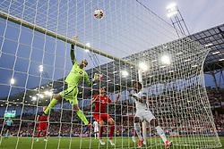 June 22, 2017 - Kielce, Poland - Bartlomiej Dragowski of Poland makes a save during their UEFA European Under-21 Championship 2017 match between England and Poland on June 22, 2017 in Kielce, Poland. (Credit Image: © Foto Olimpik/NurPhoto via ZUMA Press)