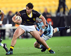 Wellington's Thomas Unaga-Jensen tackled by Northland's Murray Douglas in the Mitre 10 Semi Final Rugby match at Westpac Stadium, Wellington, New Zealand, Friday, October 20, 2017. Credit:SNPA / Ross Setford  **NO ARCHIVING**