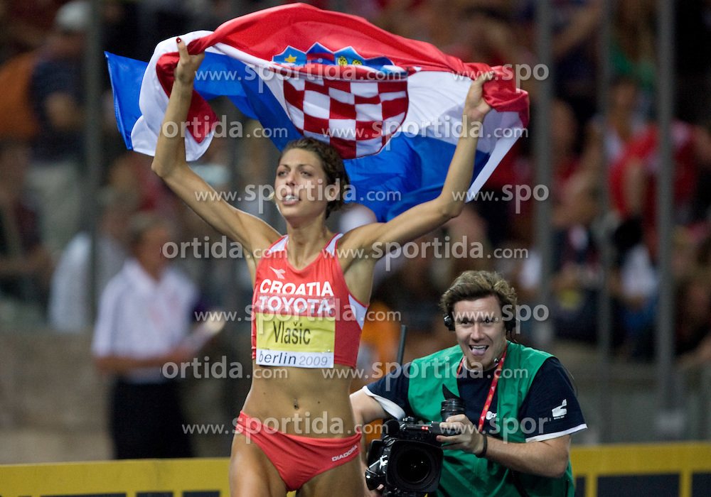 Croatia's Blanka Vlasic celebrates after winning the women's high jump final of the 12th IAAF World Athletics Championships at the Olympic Stadium on August 20, 2009 in Berlin, Germany. (Photo by Vid Ponikvar / Sportida)