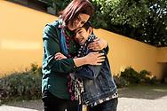 Milano, Italia - Leonardo, 18 anni, insieme a Stefania Murra, suo angelo custode ed educatrice all'interno dell'Istituto Benedetta D'Intino a Milano.<br /> Ph. Roberto Salomone