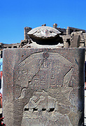 Scarab surmounting relief of a pharoah receiving tribute. Temple of Karnak