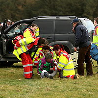 Damien Murphy receiving attentation after taking a fall from Oscar Delta in the second at the Dromoland Point to Point on Sunday.<br /><br />Photograph by Yvonne Vaughan.