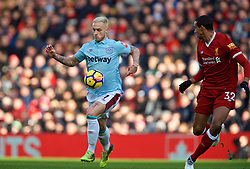 LIVERPOOL, ENGLAND - Saturday, February 24, 2018: West Ham United's Marko Arnautovic during the FA Premier League match between Liverpool FC and West Ham United FC at Anfield. (Pic by David Rawcliffe/Propaganda)