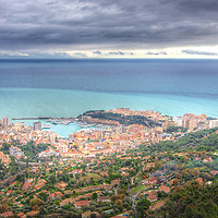 The principality of Monaco and a winter's cloudy horizon on the Med, as seen from the perch of La Turbie.