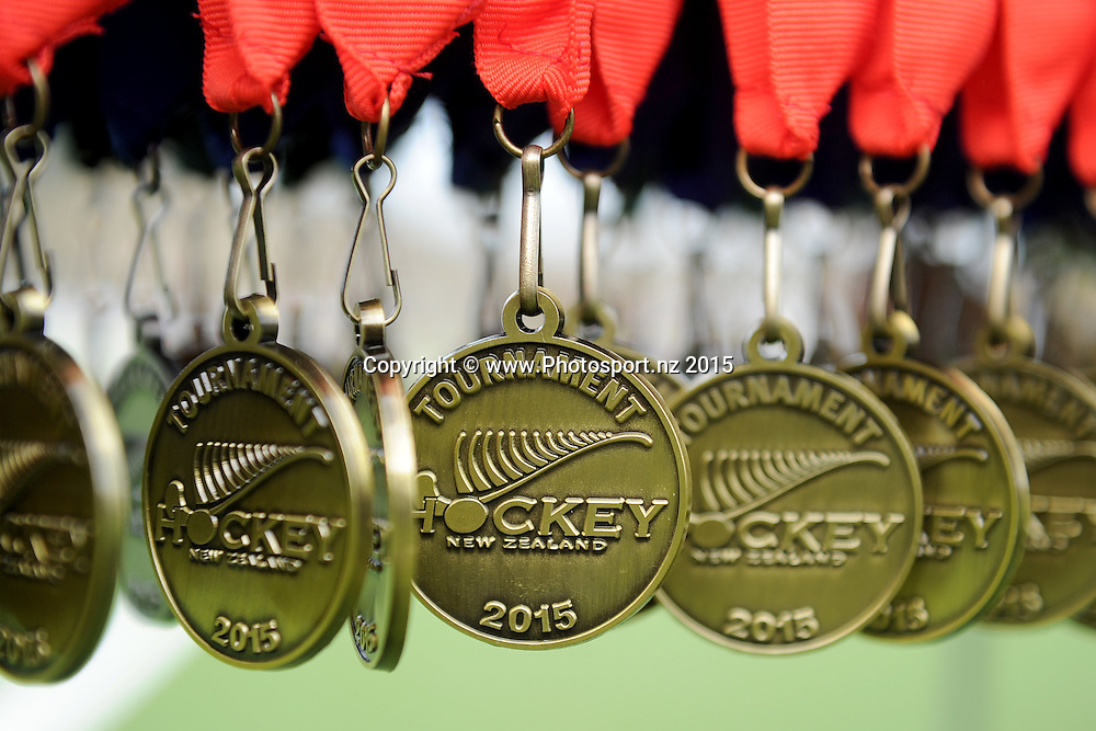 A view of the medals, following the National U15 Hockey tournament final match between Wellington and Canterbury, held at the McMillan turf in Dunedin, New Zealand, 3 October 2015. Credit: Joe Allison / www.Photosport.nz