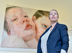 Artist Jenny Saville with some of her works that are going on show for the first time in Scotland at the Scottish National Gallery of Modern Art.<br /> <br /> &copy; Dave Johnston/ EEm