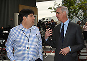 XFL commissioner Oliver Luck (right) speaks with AEG spokesperson Michael Roth during a news conference, Tuesday, May 7, 2019, in Los Angeles. Play will begin in the eight-team league on Feb. 8-9, 2020 with teams in Dallas, Houston, Los Angeles, New York, St. Louis, Seattle , Tampa Bay and Washington D.C.