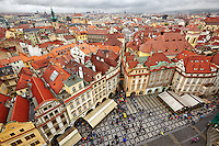 Aerial Photo of Prague's Old Town Square from the top of the Old Town Hall tower