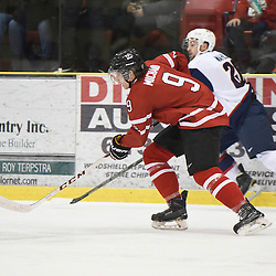 WELLINGTON, - Dec 11, 2015 -  Exhibition Game 2- Team USA vs Team Canada East at the 2015 World Junior A Challenge at the Wellington District Community Centre, ON. &Eacute;douard Michaud #9 of Team Canada East skates up the ice during the second period.<br /> (Photo: Andy Corneau / OJHL Images)