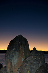 """""""Tahoe Boulders at Sunset 2"""" - These boulders were photographed near Secret Cove, Lake Tahoe at sunset."""