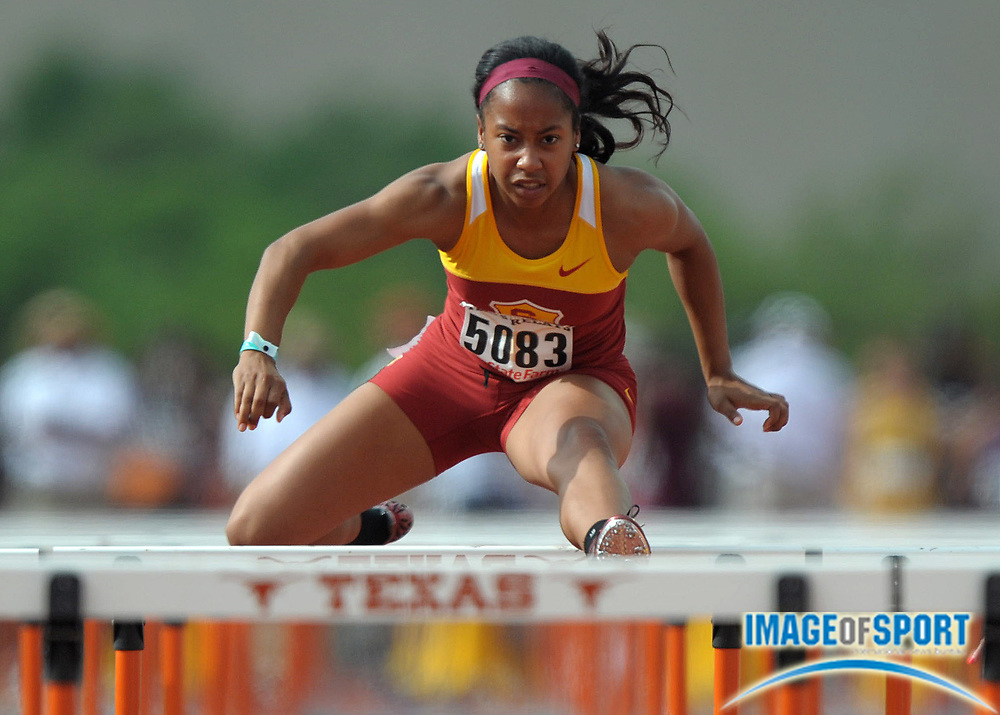 Mar 30, 2012; Austin, TX, USA; Melia Cox of Southern California runs 13.95 in a womens 100m hurdle heat in the 85th Clyde Littlefield Texas Relays at Mike A. Myers Stadium.